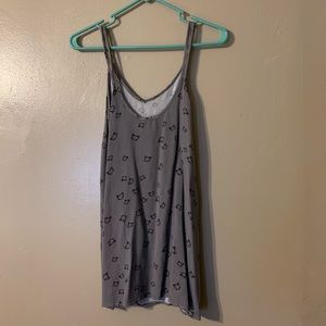 Wet Seal Tops - Grey cat print spaghetti strap blouse